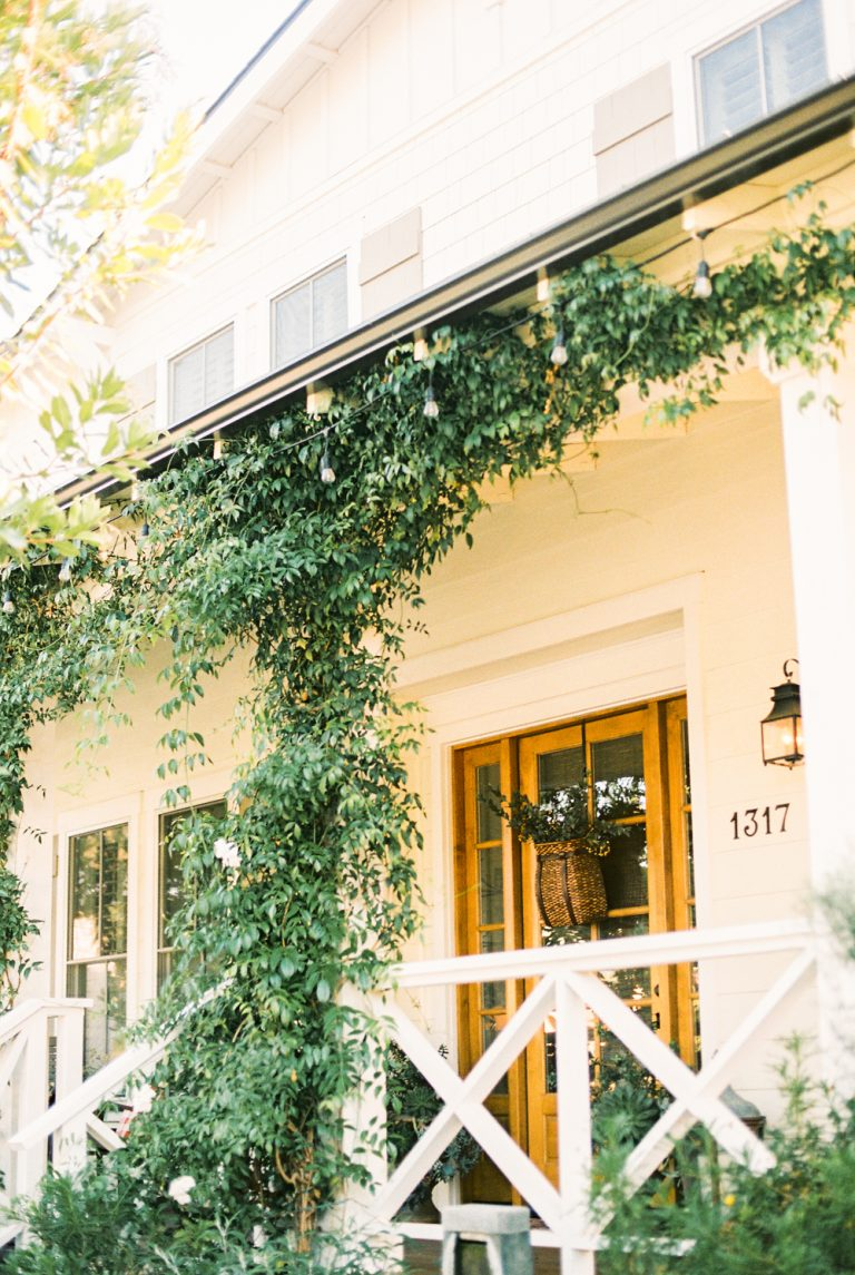 Front Porch with vines growing